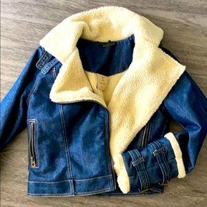 Brand new denim jacket with faux sheepskin lining